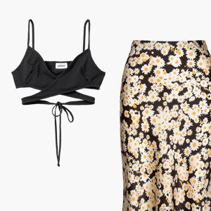 Комбо: Топ с завязками на животе и юбка миди — Стиль на Wonderzine