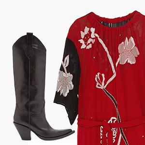 Комбо: Платье миди с сапогами — Стиль на Wonderzine