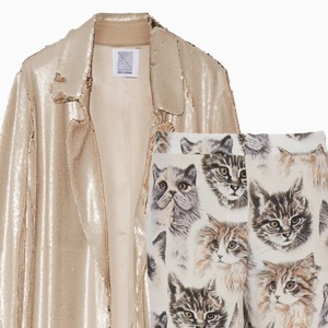 Комбо: Жакет в пайетках c пижамными брюками — Стиль на Wonderzine