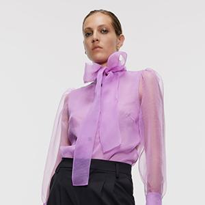 Полупрозрачная лавандовая блуза — для офиса и вечеринки — Вишлист на Wonderzine