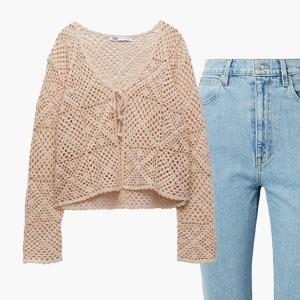 Комбо: Кардиган на завязке и джинсы-скинни — Стиль на Wonderzine