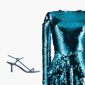 Комбо: Блестящее платье с босоножками с квадратным носком — Стиль на Wonderzine