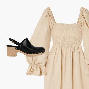 Комбо: Клоги на деревянной подошве и чайное платье — Стиль на Wonderzine
