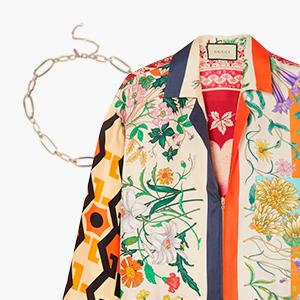 Комбо: Блуза с «платочным» принтом с массивной цепочкой — Стиль на Wonderzine