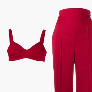 Комбо: Бра-топ с брюками с завышенной талией  — Стиль на Wonderzine