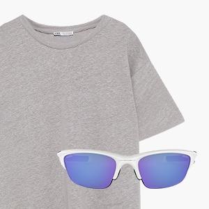 Комбо: Серая футболка с очками с фиолетовыми стёклами — Стиль на Wonderzine