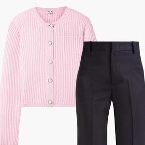 Комбо: Короткий кардиган с широкими брюками