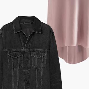 Комбо: Джинсовая куртка с шёлковой юбкой