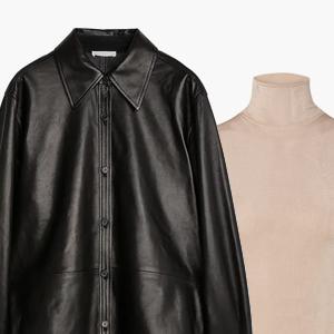 Комбо: Кожаная рубашка с водолазкой без рукавов — Стиль на Wonderzine