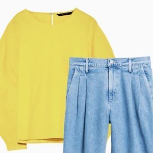 Комбо: Рубашка с объёмными плечами с брюками — Стиль на Wonderzine