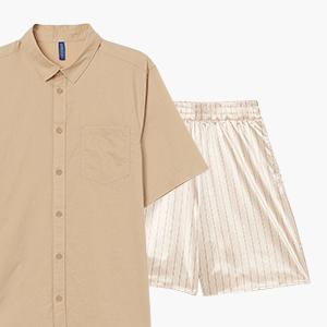 Комбо: Рубашка с коротким рукавом с панталонами — Стиль на Wonderzine