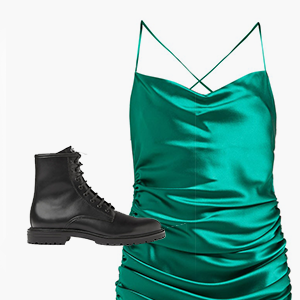 Комбо: Атласное платье с грубыми ботинками