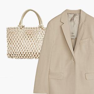 Комбо: Светлый жакет с плетёной сумкой — Стиль на Wonderzine
