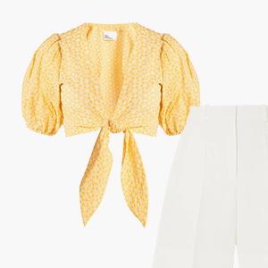 Комбо: Блуза с объёмными рукавами и бермуды — Стиль на Wonderzine