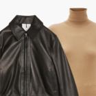 Комбо: Укороченная кожаная куртка с водолазкой