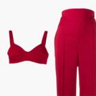 Комбо: Бра-топ с брюками с завышенной талией