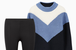 Комбо: Объёмный свитер c брюками со штрипками