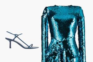 Комбо: Блестящее платье с босоножками с квадратным носком
