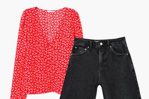 Комбо: Блуза с вырезом с джинсовыми бермудами