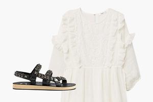 Комбо: Чайное платье со спортивными сандалиями