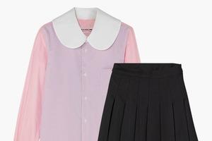 Комбо: Блузка с необычным воротничком с юбкой в складку