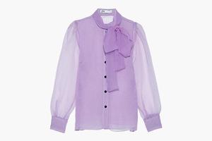 Полупрозрачная лавандовая блуза — для офиса и вечеринки