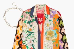 Комбо: Блуза с «платочным» принтом с массивной цепочкой