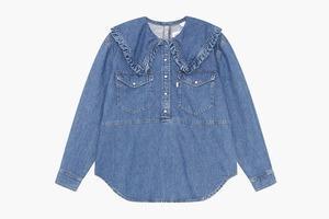 Блуза с округлым воротничком из коллаборации Levi's и Ganni