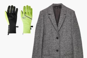 Комбо: Пальто  и околоспортивные перчатки