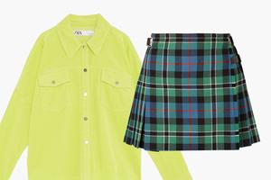Комбо: Вельветовая рубашка с юбкой в клетку
