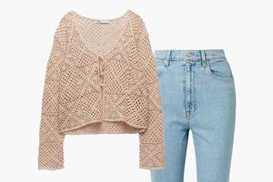 Комбо: Кардиган на завязке и джинсы-скинни