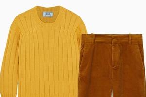 Комбо: Вельветовые брюки с шерстяным свитером
