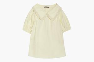 Неоромантичная объёмная блузка с круглым воротником