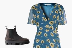 Комбо: Лёгкое платье с челси на грубой подошве