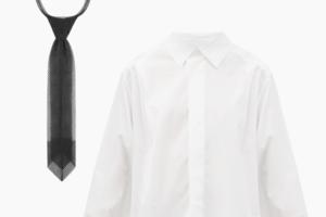 Комбо: Чёрный галстук с белой рубашкой