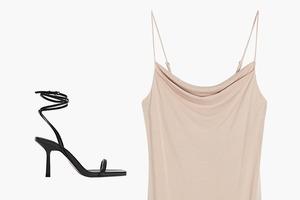 Комбо: Босоножки с завязками и платье с разрезом