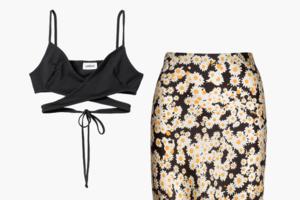 Комбо: Топ с завязками на животе и юбка миди