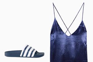Комбо: Лёгкое платье с резиновыми тапочками