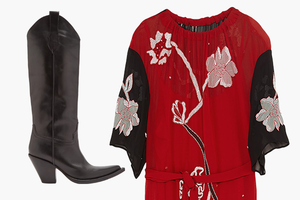 Комбо: Платье миди с сапогами