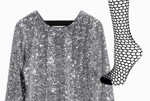 Комбо: Нарядное платье с колготками в сетку