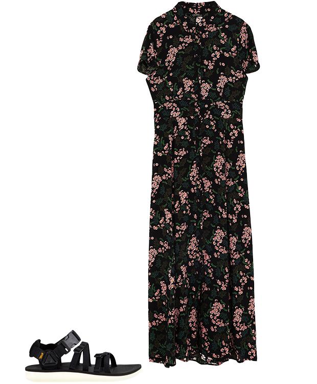 Комбо: Чайное платье со спортивными сандалиями. Изображение № 2.