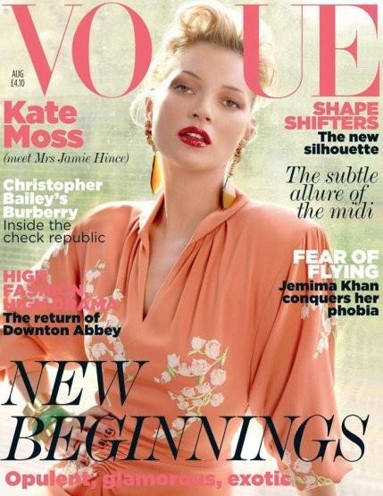 Кейт Мосс на обложке британского Vogue, август 2011. Изображение № 26.