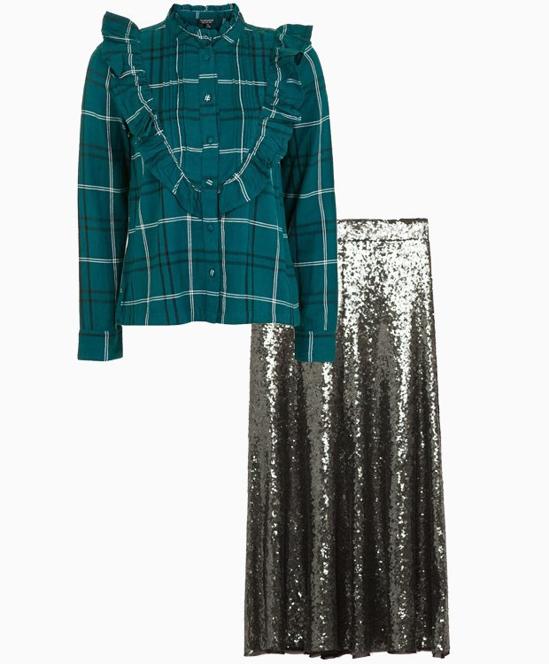 Комбо: Юбка в пайетках с рубашкой. Изображение № 1.