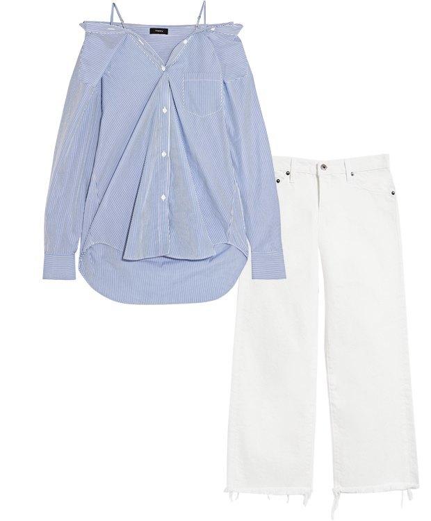 Комбо: Рубашка с белыми джинсами. Изображение № 2.
