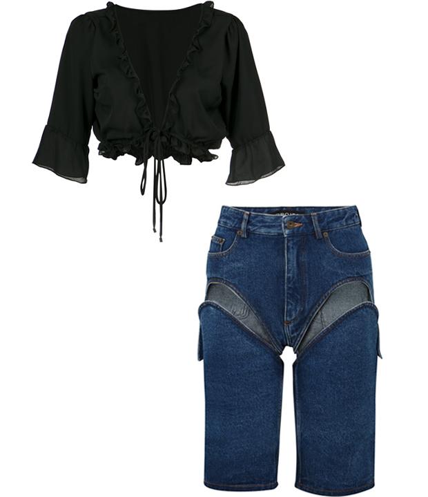 Комбо: Блуза с вырезом с джинсовыми бермудами. Изображение № 2.