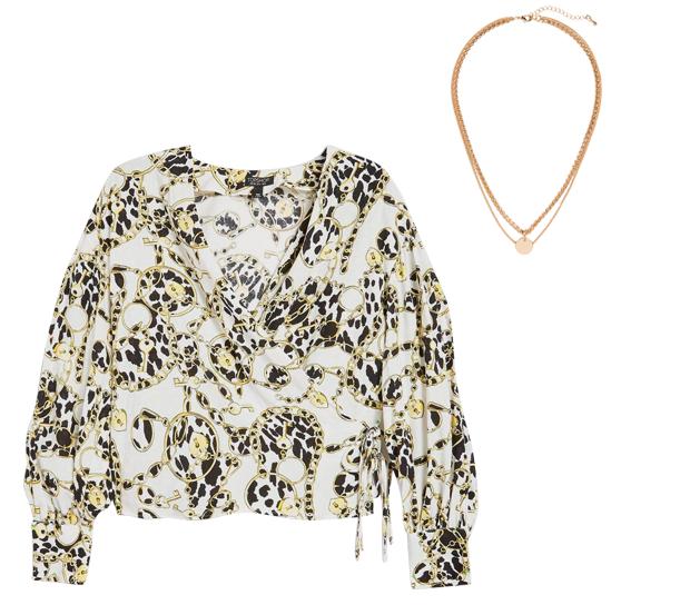 Комбо: Блуза с «платочным» принтом с массивной цепочкой. Изображение № 2.