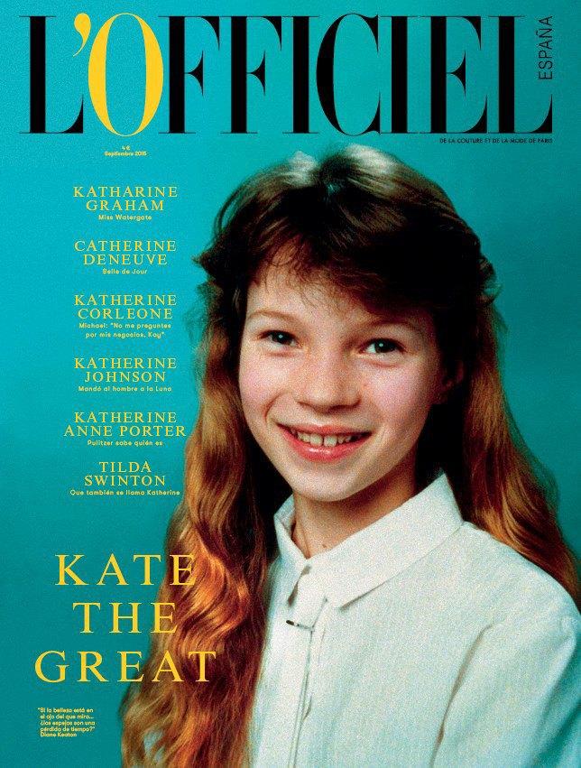 Обложку первого номера L'Officiel Spain украсил детский снимок Кейт Мосс. Изображение № 1.