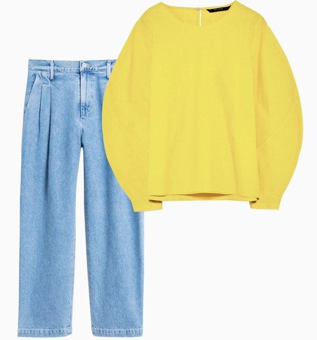 Комбо: Рубашка с объёмными плечами с брюками. Изображение № 3.