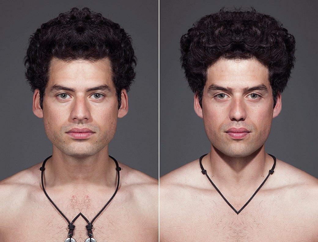 «Симметричные портреты»:  Два человека в одном. Изображение № 2.