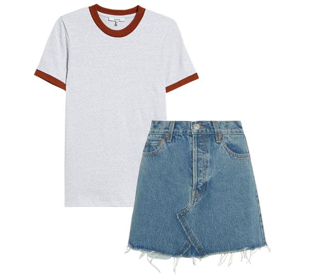 Комбо: Псевдовинтажная футболка с мини-юбкой. Изображение № 2.